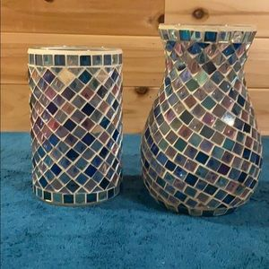 Pair Of Mozaic Candle Holders Excellent Condition